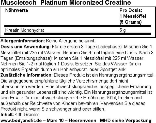 Platinum Micronized Creatine Nutritional Information 1