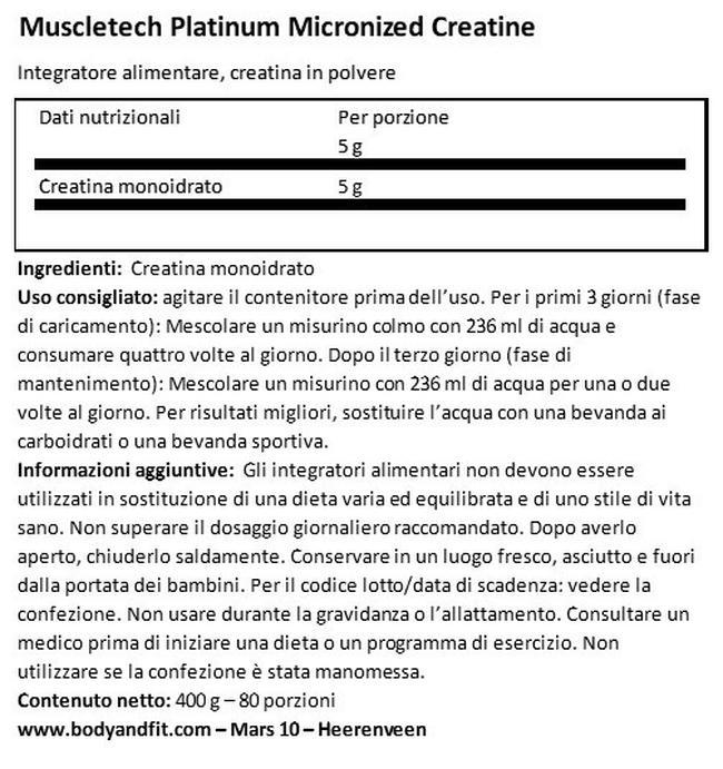 Platinum Micronized Creatine Nutritional Information 1