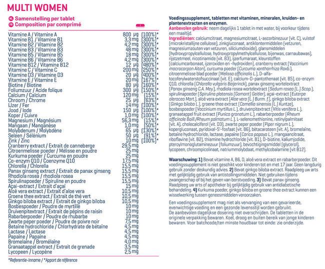 Multi Women Nutritional Information 1