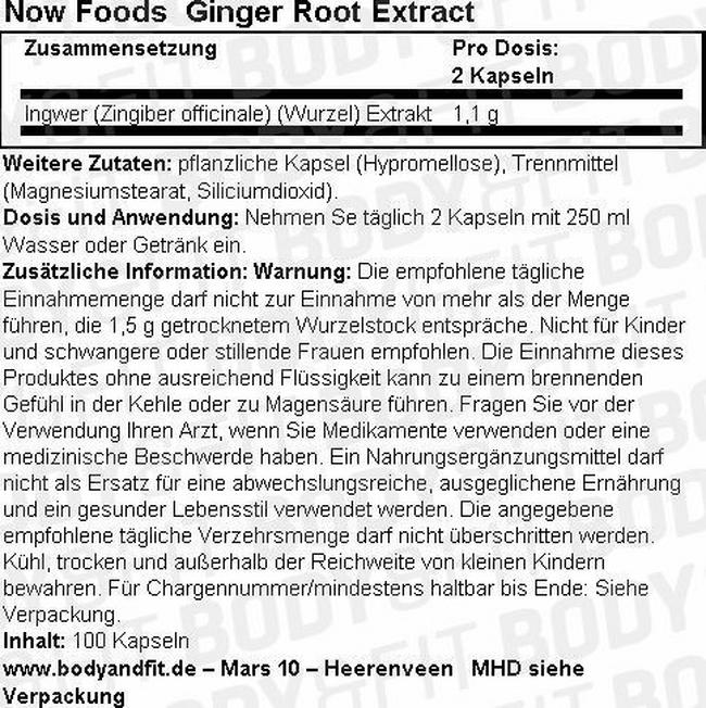 Ginger Root Extract Nutritional Information 1