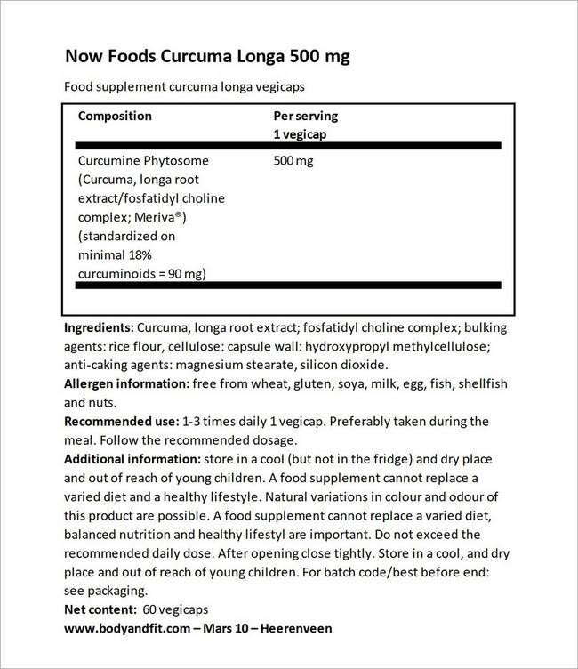 Curcuma Longa 500 mg Nutritional Information 3