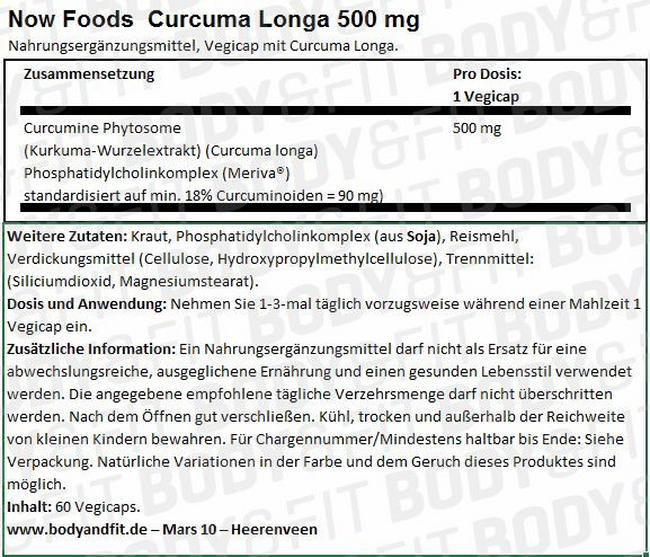 Curcuma Longa 500 mg Nutritional Information 1