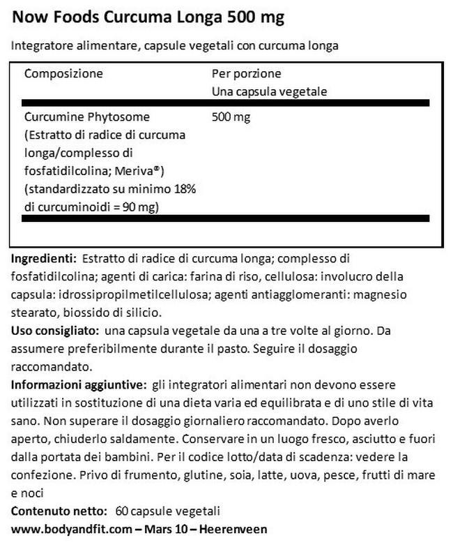 Curcuma Longa 500mg Nutritional Information 1