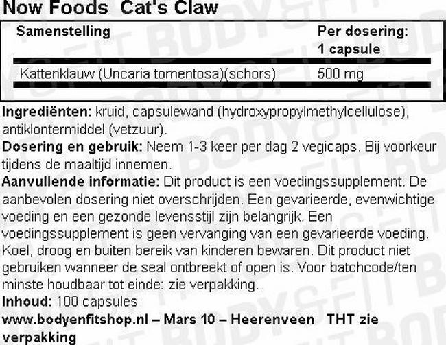 Cat's Claw Nutritional Information 1