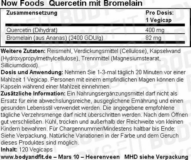 Quercetin with Bromelain Nutritional Information 1
