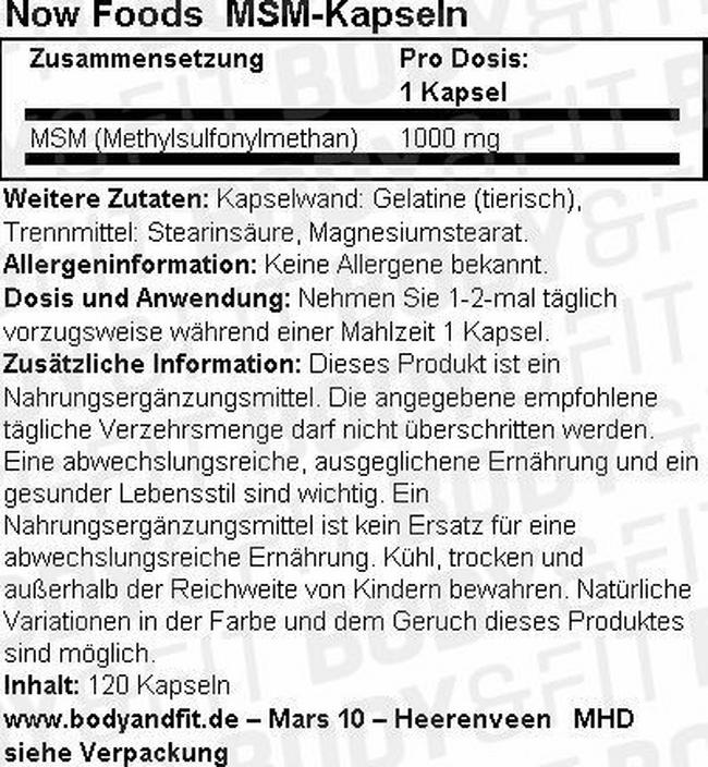 MSM-Kapseln Nutritional Information 1