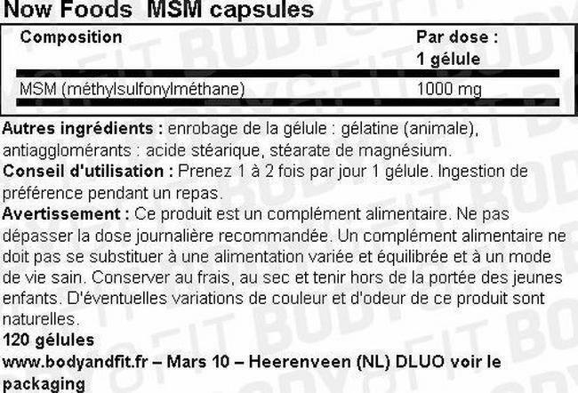 MSM Capsules Nutritional Information 1
