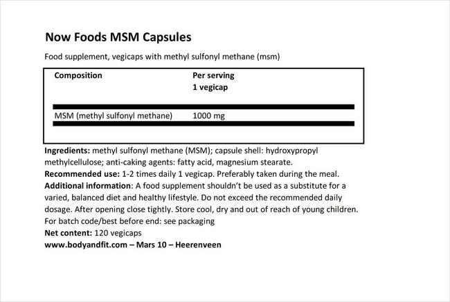 MSMカプセル Nutritional Information 1
