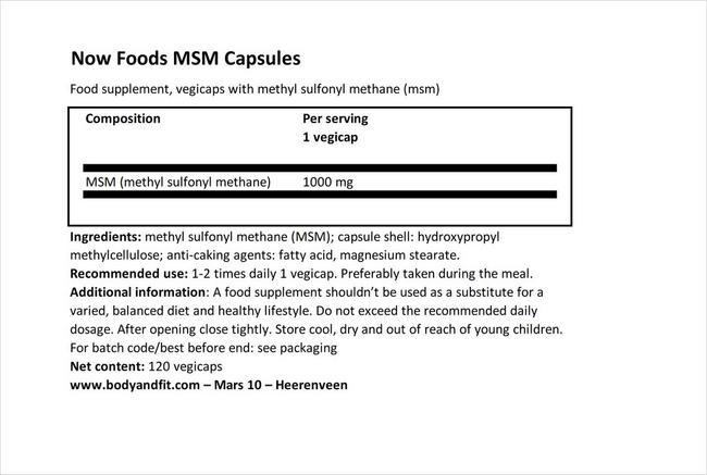 MSM 캡슐 Nutritional Information 1