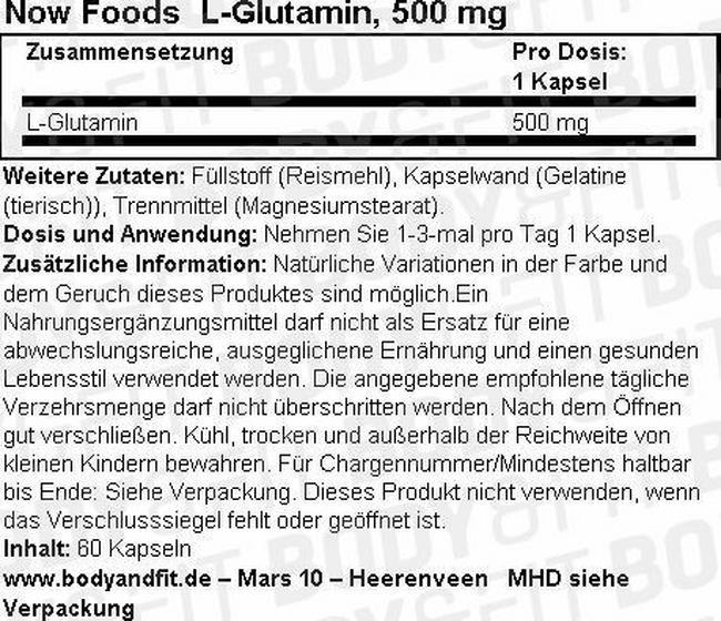 L-Glutamin, 500 mg Nutritional Information 1