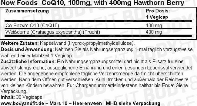 CoQ10, 100mg, with 400mg Hawthorn Berry Nutritional Information 1