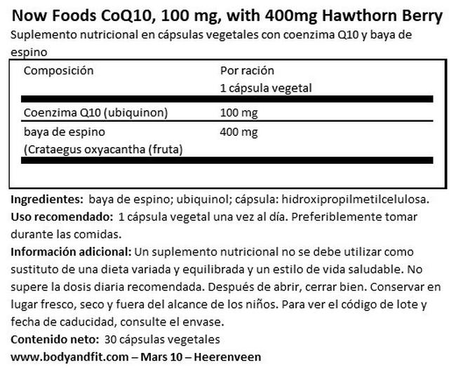 CoQ10 100 mg, with 400 mg Hawthorn Berry Nutritional Information 1