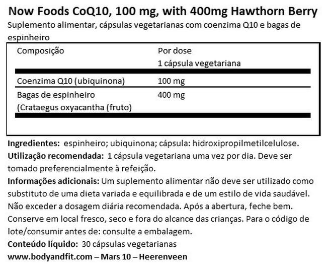 CoQ10 100mg, with 400mg Hawthorn Berry Nutritional Information 1