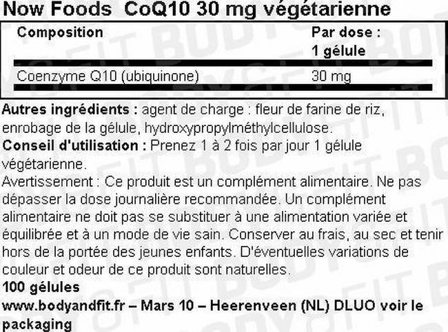 Gélules végétariennes de coenzymeQ10 CoQ10 30mg Vegetarian Nutritional Information 1