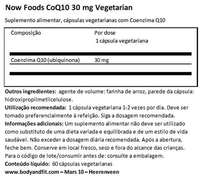 CoQ10 30 mg Vegetarian Nutritional Information 1