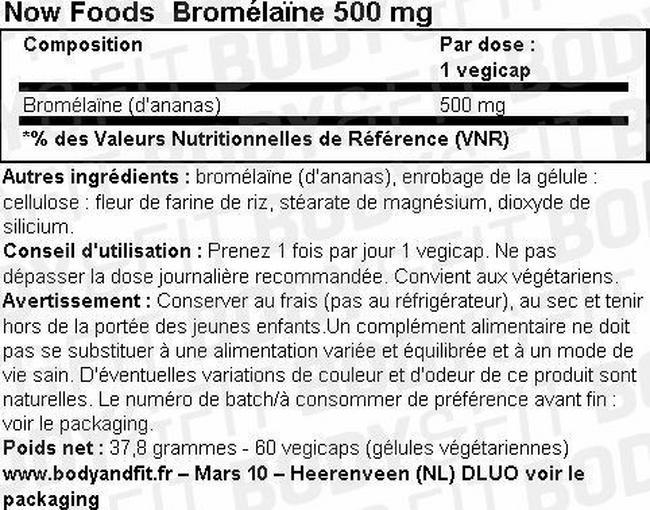 Bromelain 500mg Nutritional Information 2