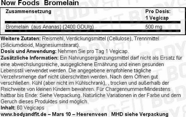 Bromelain 500mg Nutritional Information 3