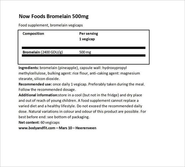 Bromelain 500mg Nutritional Information 4