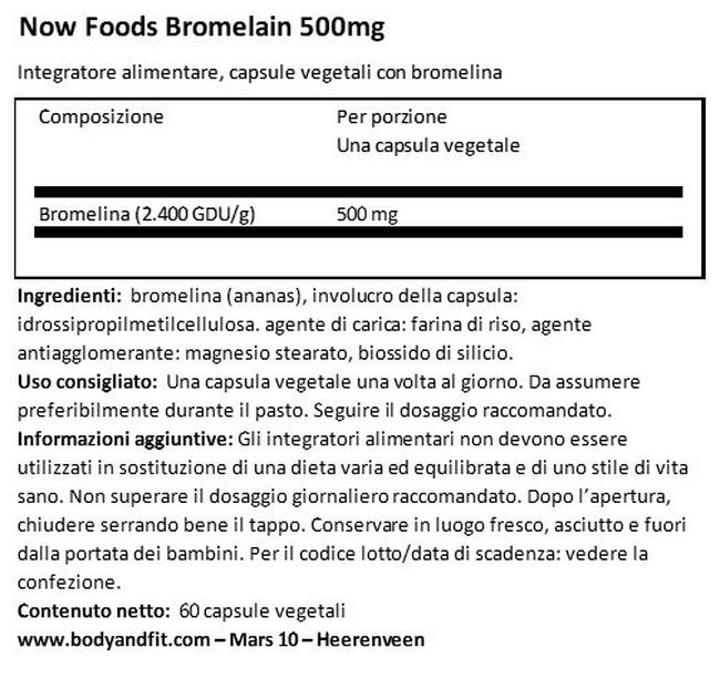 Bromelina 500 mg Nutritional Information 1
