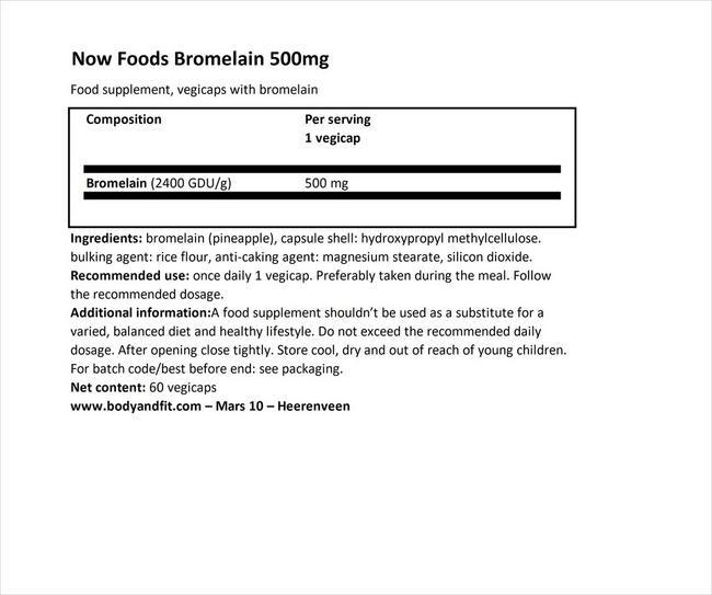 ブロメライン 500mg Nutritional Information 1