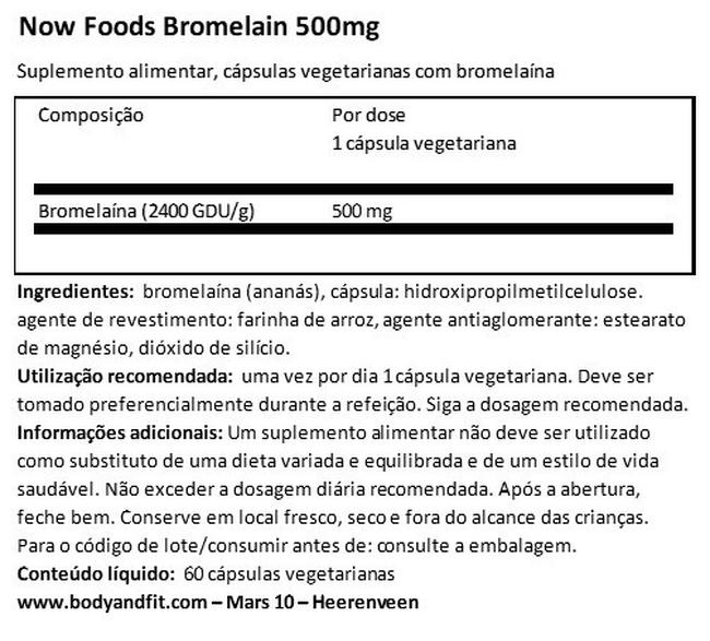 Bromelain 500 mg Nutritional Information 1
