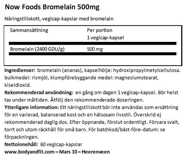 Bromelin 500 mg Nutritional Information 1