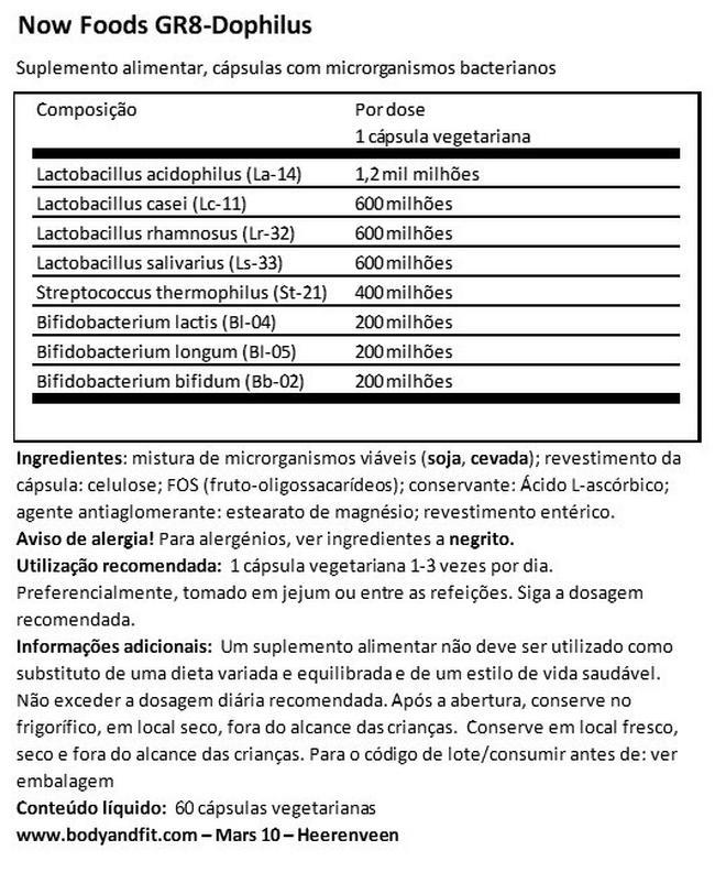 GR8-Dophilus Nutritional Information 1