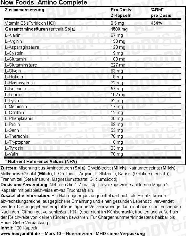 Amino Complete Nutritional Information 1