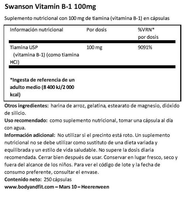 Vitamin B1 100 mg Nutritional Information 1