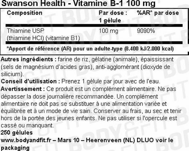 Vitamine B-1 100mg Nutritional Information 1