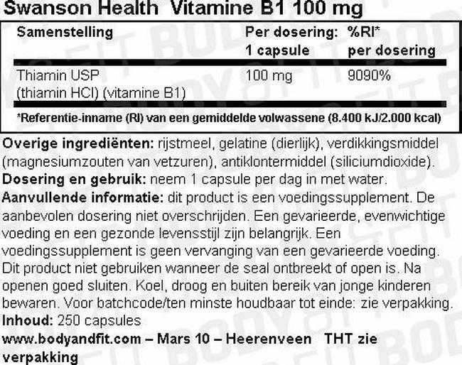 Vitamine B-1 100mg Nutritional Information 1