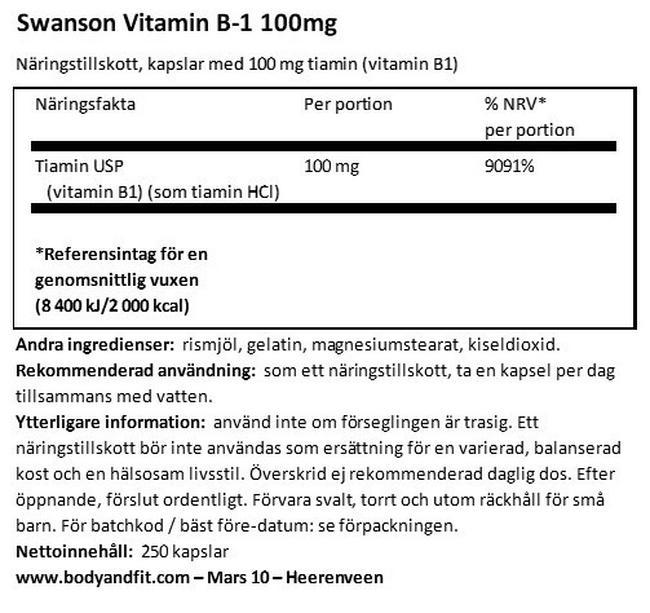 Vitamin B1 100mg Nutritional Information 1