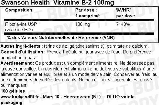 Vitamine B-2 100mg Nutritional Information 2