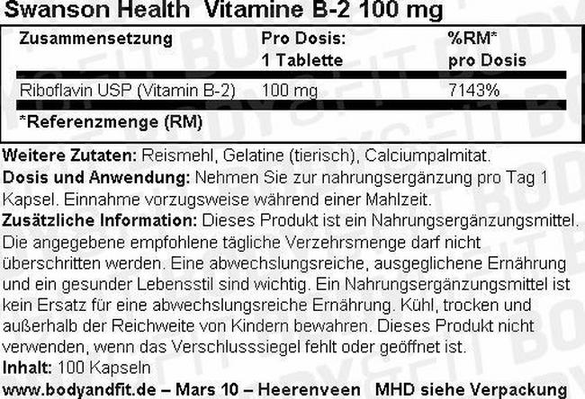 Vitamine B-2 100mg Nutritional Information 3