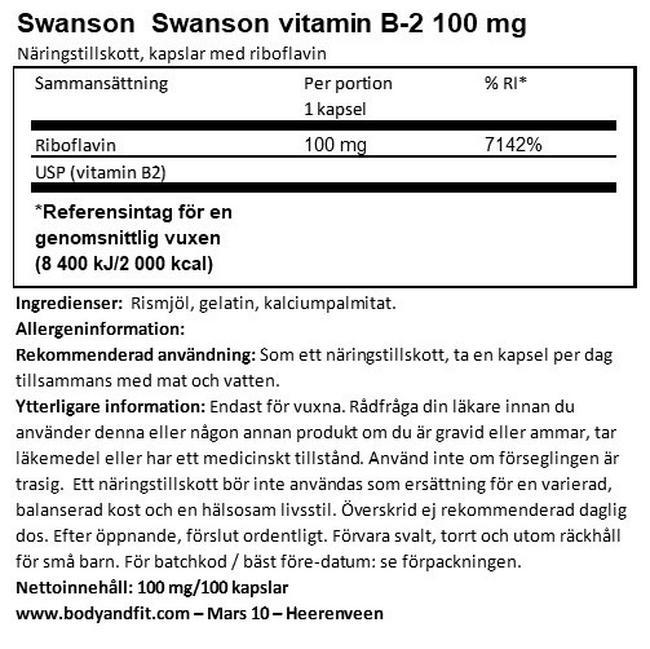 Vitamin B2 100mg Nutritional Information 1