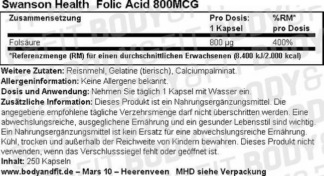 Folsäure Nutritional Information 1