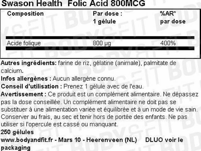 Folic Acid 800MCG Nutritional Information 1