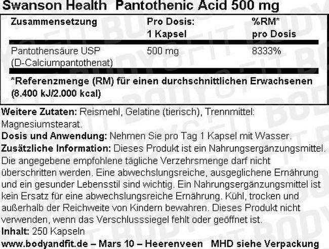 Pantothensäure (Vitamin B5)  500mg Nutritional Information 1