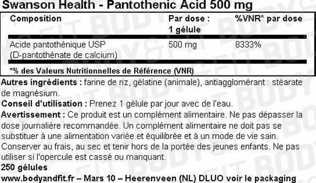 Acide pantothénique 500mg Nutritional Information 1