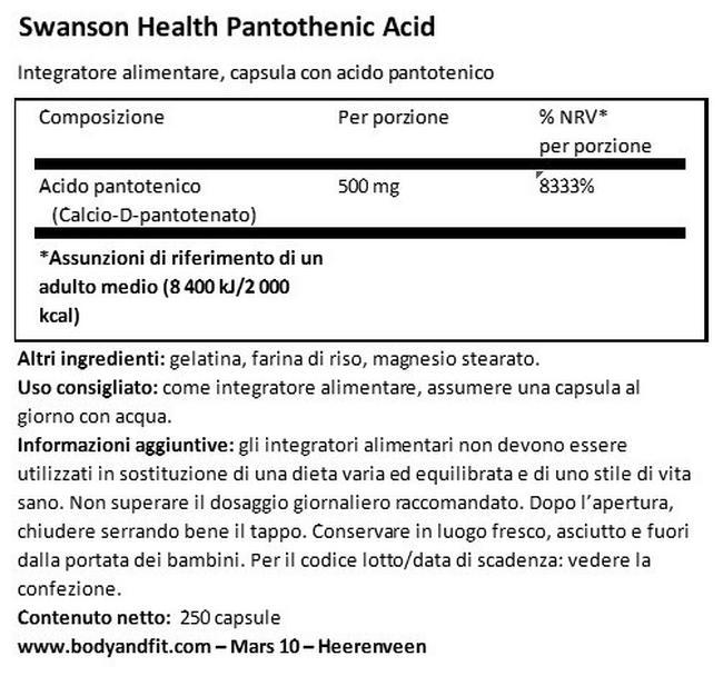 Pantothenic Acid 500mg Nutritional Information 1