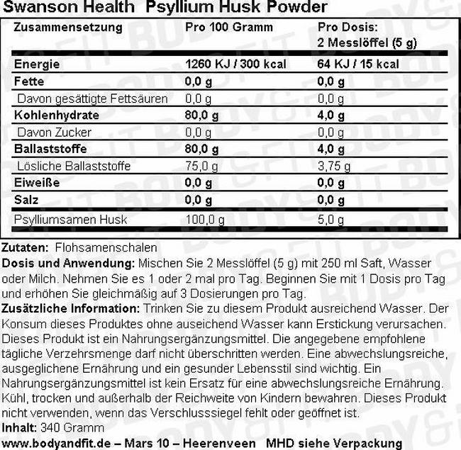 Psyllium Husk Powder Nutritional Information 1