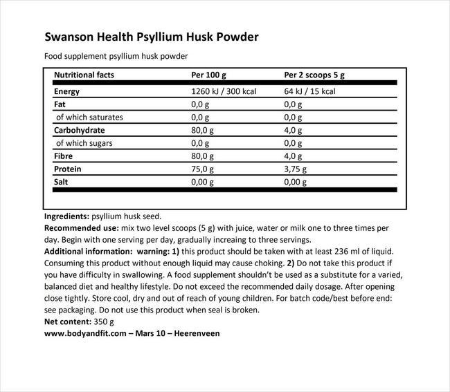 Psyllium Husk Powder - Swanson Health