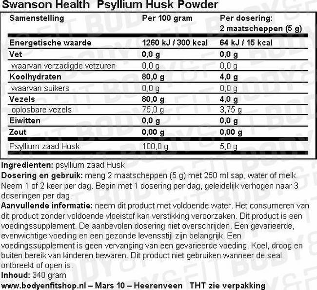 Psyllium Husk Powder Nutritional Information 1