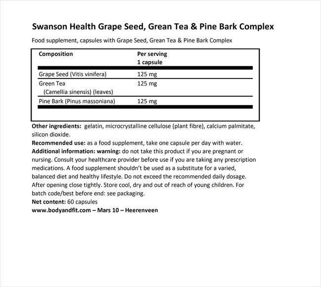 グレープシード、グリーンティー&パインバーク Nutritional Information 1