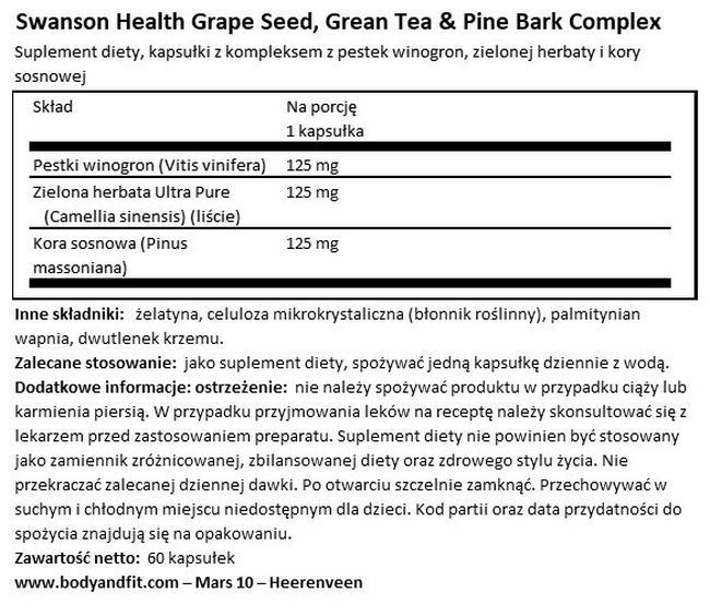 Nasiona winogron, zielona herbata i kora sosny Nutritional Information 1