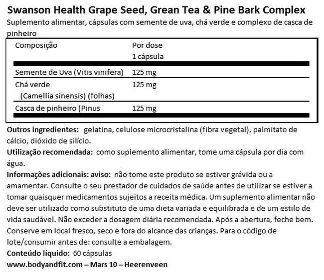 Semente de uva, chá verde e casca de pinheiro Nutritional Information 1