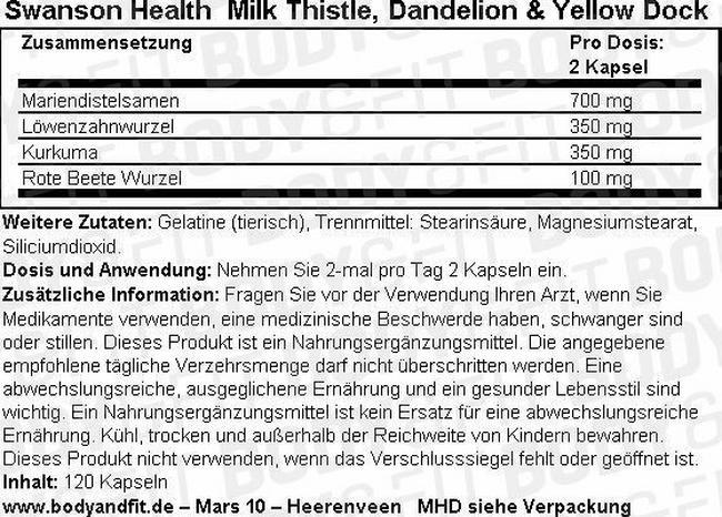 Milk Thistle, Dandelion, Yellow Dock Nutritional Information 1