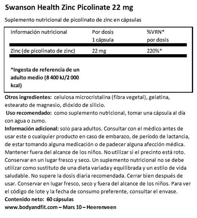 Zinc Picolinate Body Preferred form 22 mg Nutritional Information 1