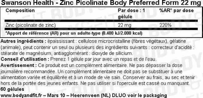 Gélules Zinc Picolinate Body Preferred Form 22 mg Nutritional Information 1