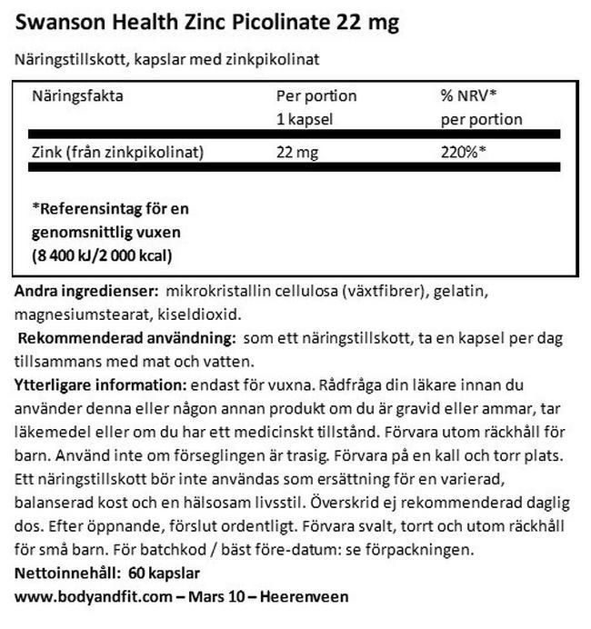 Zinc Picolinate Body Preferred form 22mg Nutritional Information 1